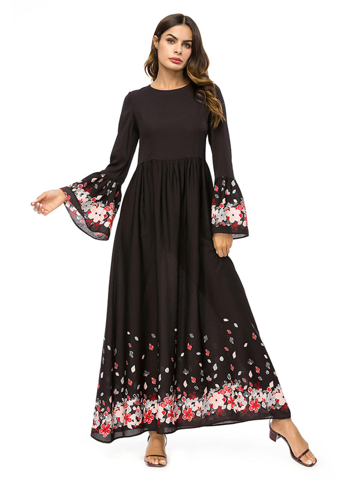 Affordable Flared Sleeve Floral Long Dress