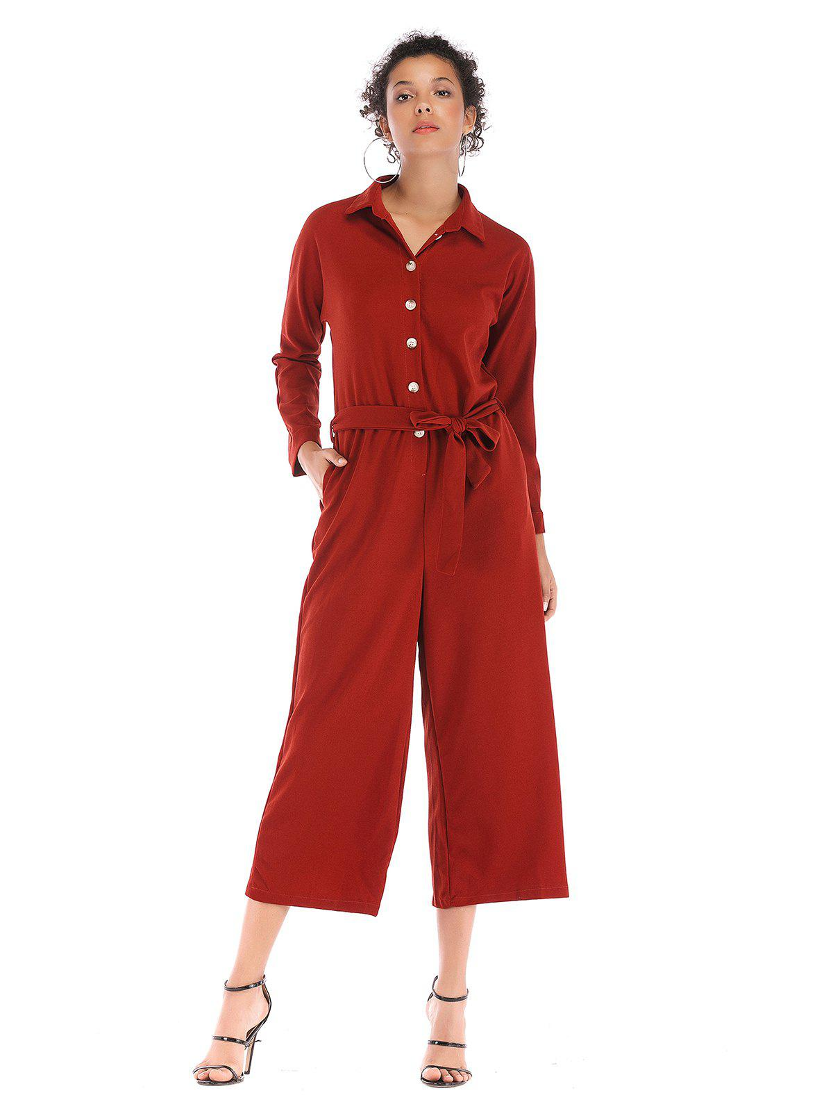Cheap Single breasted waist beltsolid collars long Lapel  Jumpsuits trousers