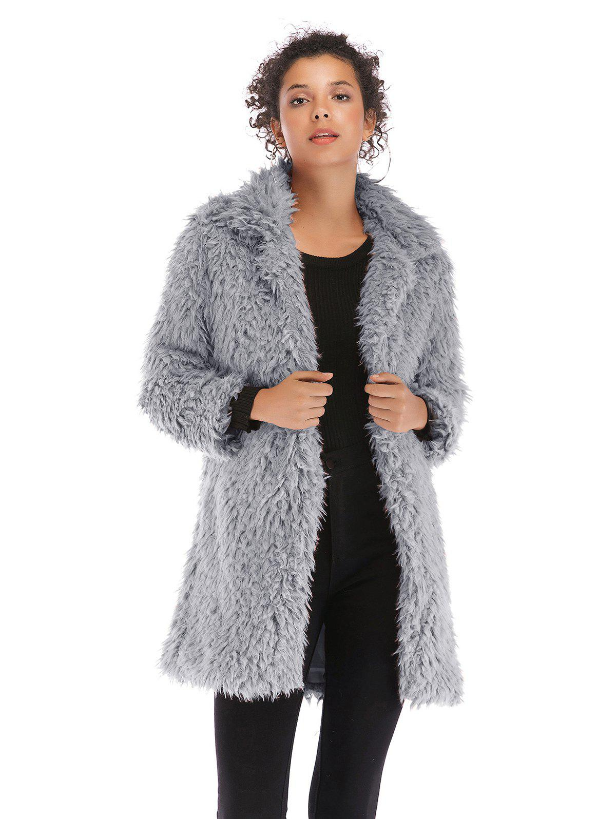 Affordable Fluffy Lapel Long Coat 5912