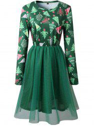 Womens Christmas Snow Flake Skater Long Sleeves Party Dress -