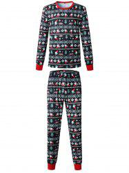 Christmas Long Sleeves Casual  Print Family Pajama Sets Parent-Child Home Suit Pyjamas -