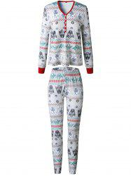 Christmas  Family Pajama Long Sleeves Casual  Print  Sets Parent-Child Home Suit Pyjamas -