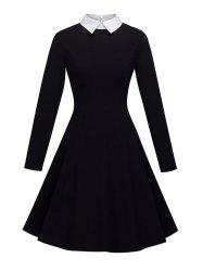 Women's Peter Pan Lapel Collar Long Sleeve  Fit and Flare Dress -