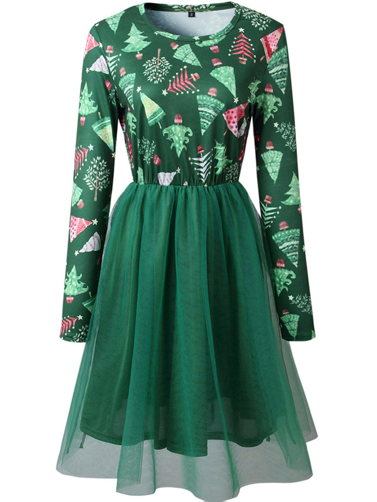 Discount Womens Christmas Snow Flake Skater Long Sleeves Party Dress
