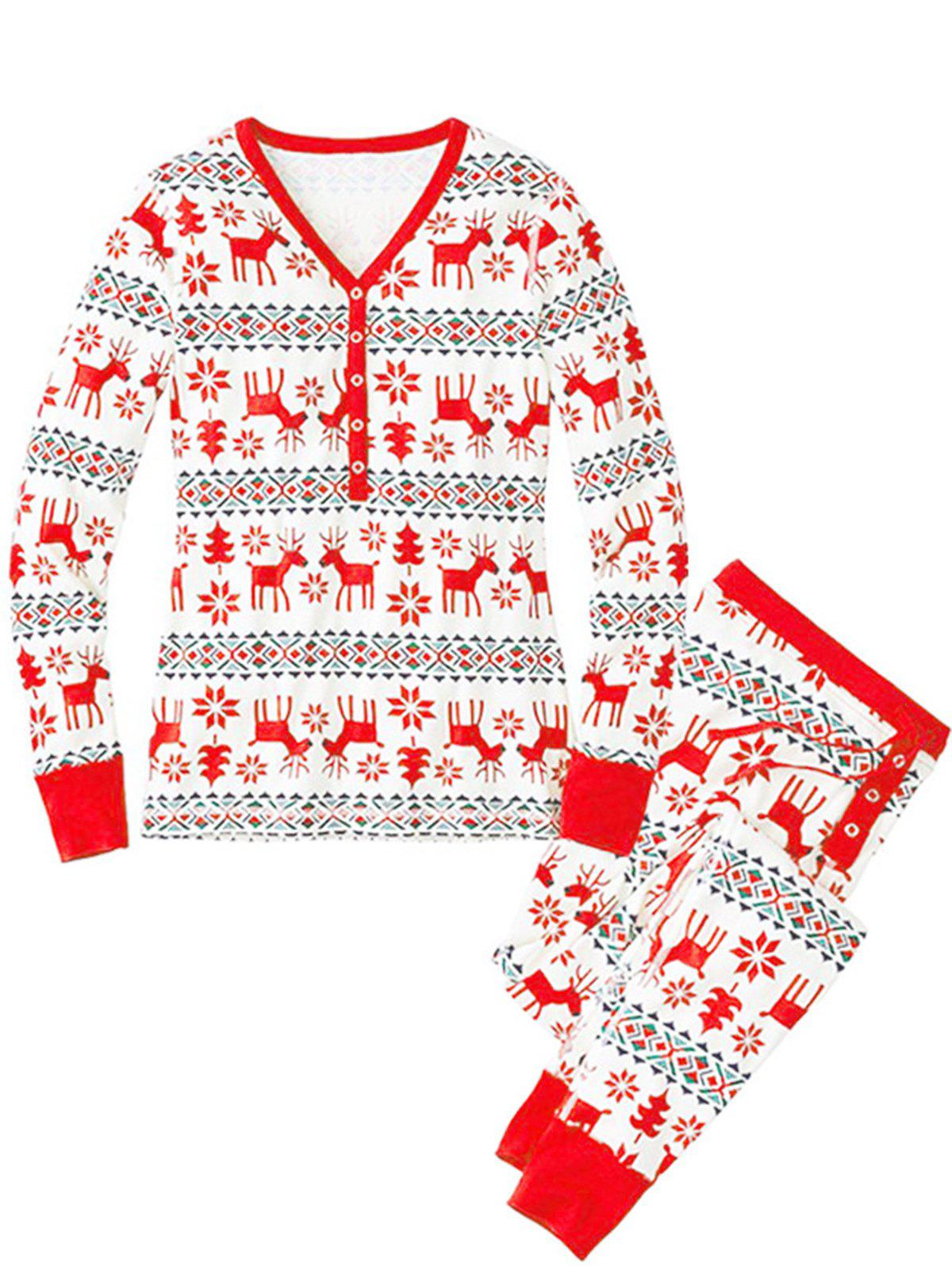 New Christmas Long Sleeves Casual Flower Print Family Pajama Sets