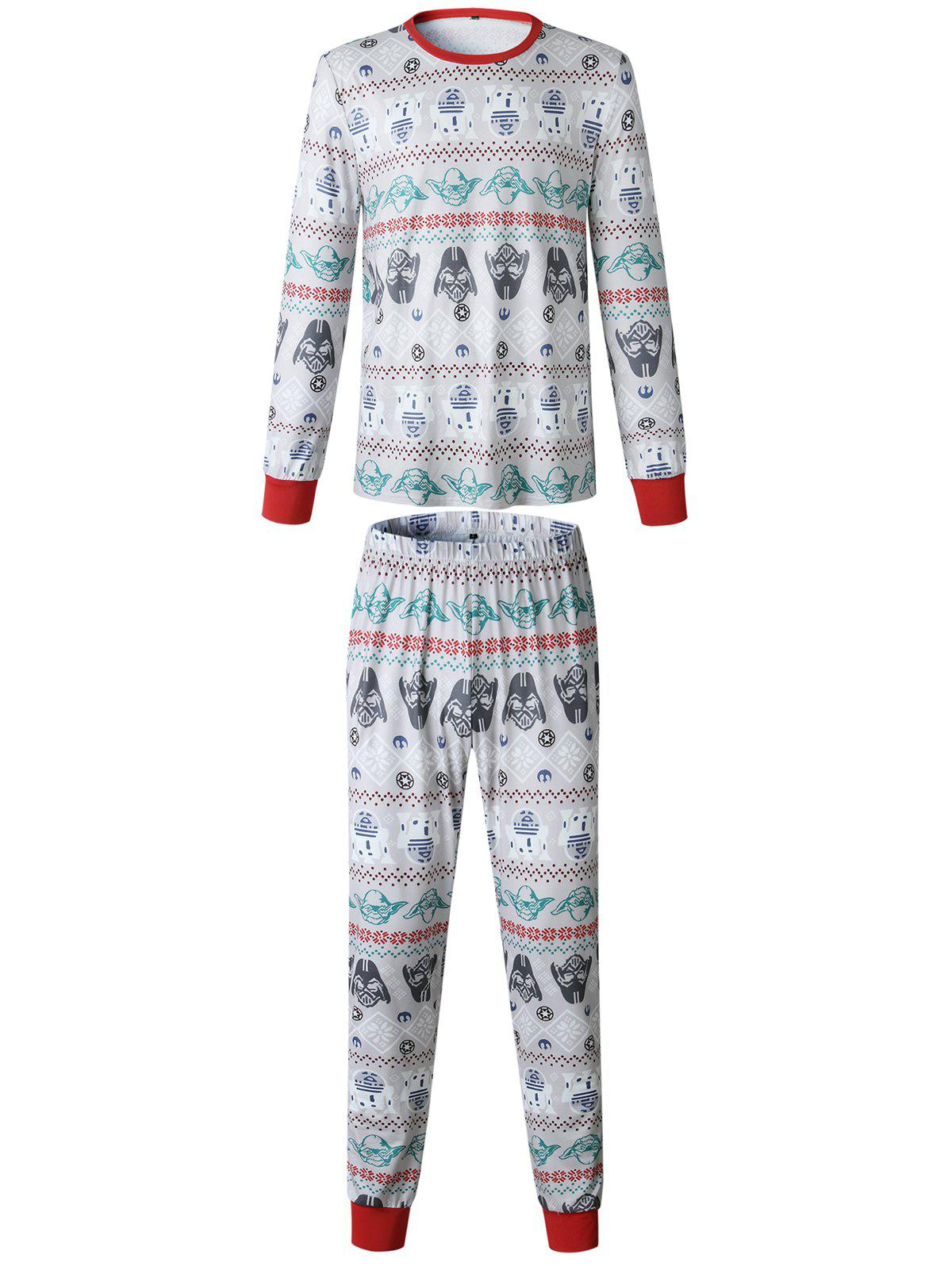 Affordable Christmas  Family Pajama Long Sleeves Casual  Print  Sets Parent-Child Home Suit Pyjamas