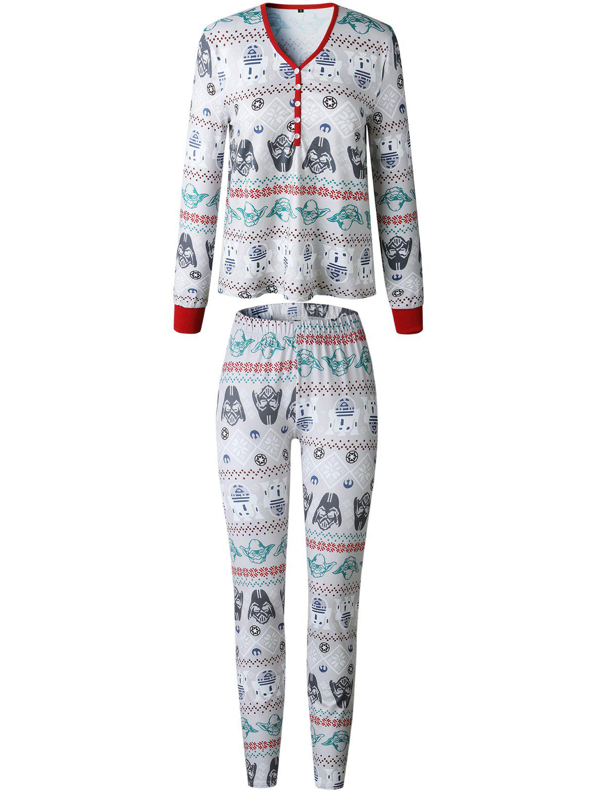 New Christmas  Family Pajama Long Sleeves Casual  Print  Sets Parent-Child Home Suit Pyjamas