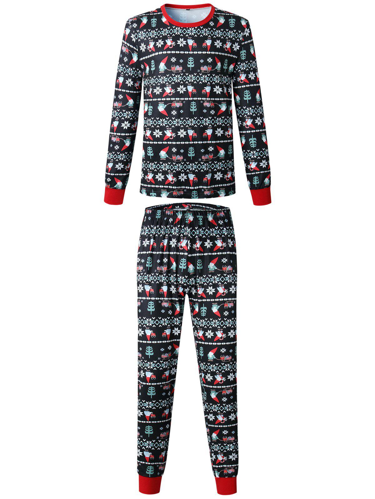 Affordable Christmas Long Sleeves Casual  Print Family Pajama Sets Parent-Child Home Suit Pyjamas
