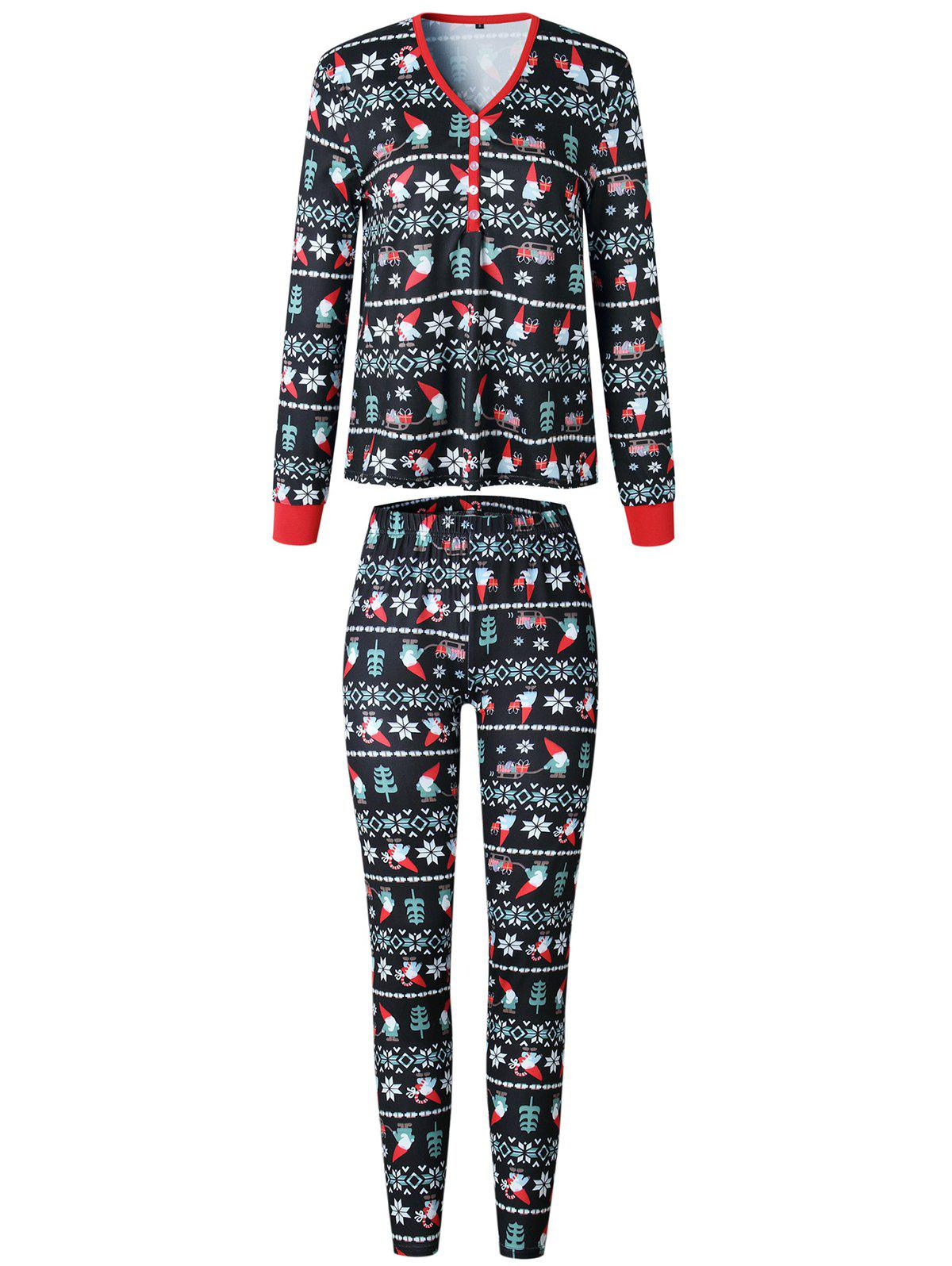 Unique Christmas Long Sleeves Casual  Print Family Pajama Sets Parent-Child Home Suit Pyjamas