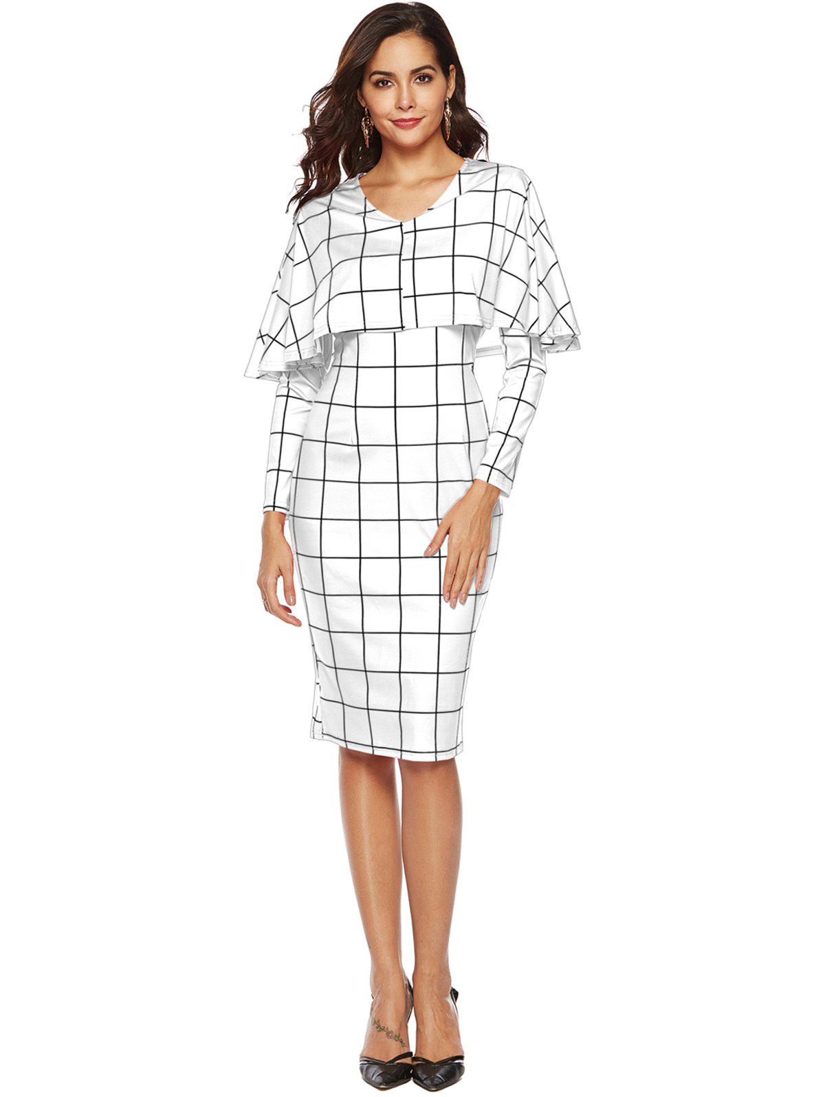 Discount Plaid Cape Bodycon Dress