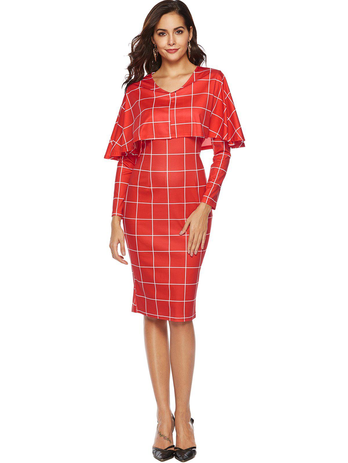 Chic Plaid Cape Bodycon Dress