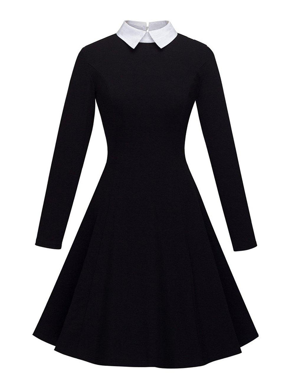 Affordable Women's Peter Pan Lapel Collar Long Sleeve  Fit and Flare Dress