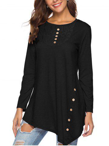 Round Collar Long Sleeve Irregularly Buttoned Blouse