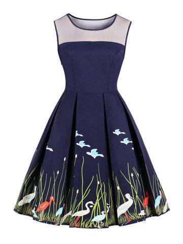 New Women's Vintage 50s 60s Swan Printing Retro Rockabilly Pinup Housewife Party Swing Dress