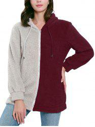 Color Patchwork Long Sleeve Hoodie -