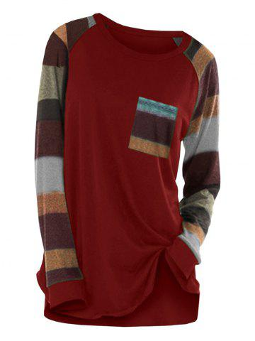 Colorful Stripe Round Neck Long Sleeve Casual T-shirt