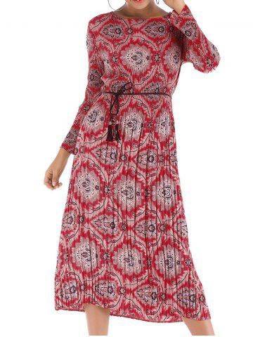Womens Long Sleeve Floral  Casual Swing Pleated T-Shirt Dress