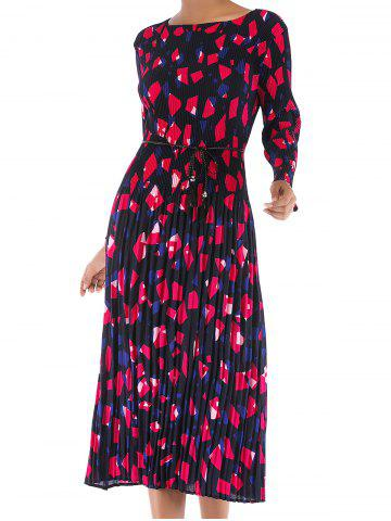 Womens Casual Floral Round Neck Long Sleeve Tunic Pleated  Dress