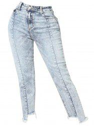 Womens Fashion High Waisted Destroyed Casual Jeans Denim -