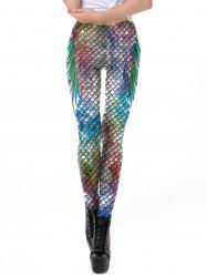 Women New Mermaid Fish Scale Printed Leggings Stretch Tight Pants -