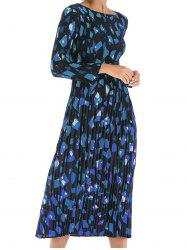Womens Casual Floral Round Neck Long Sleeve Tunic Pleated  Dress -