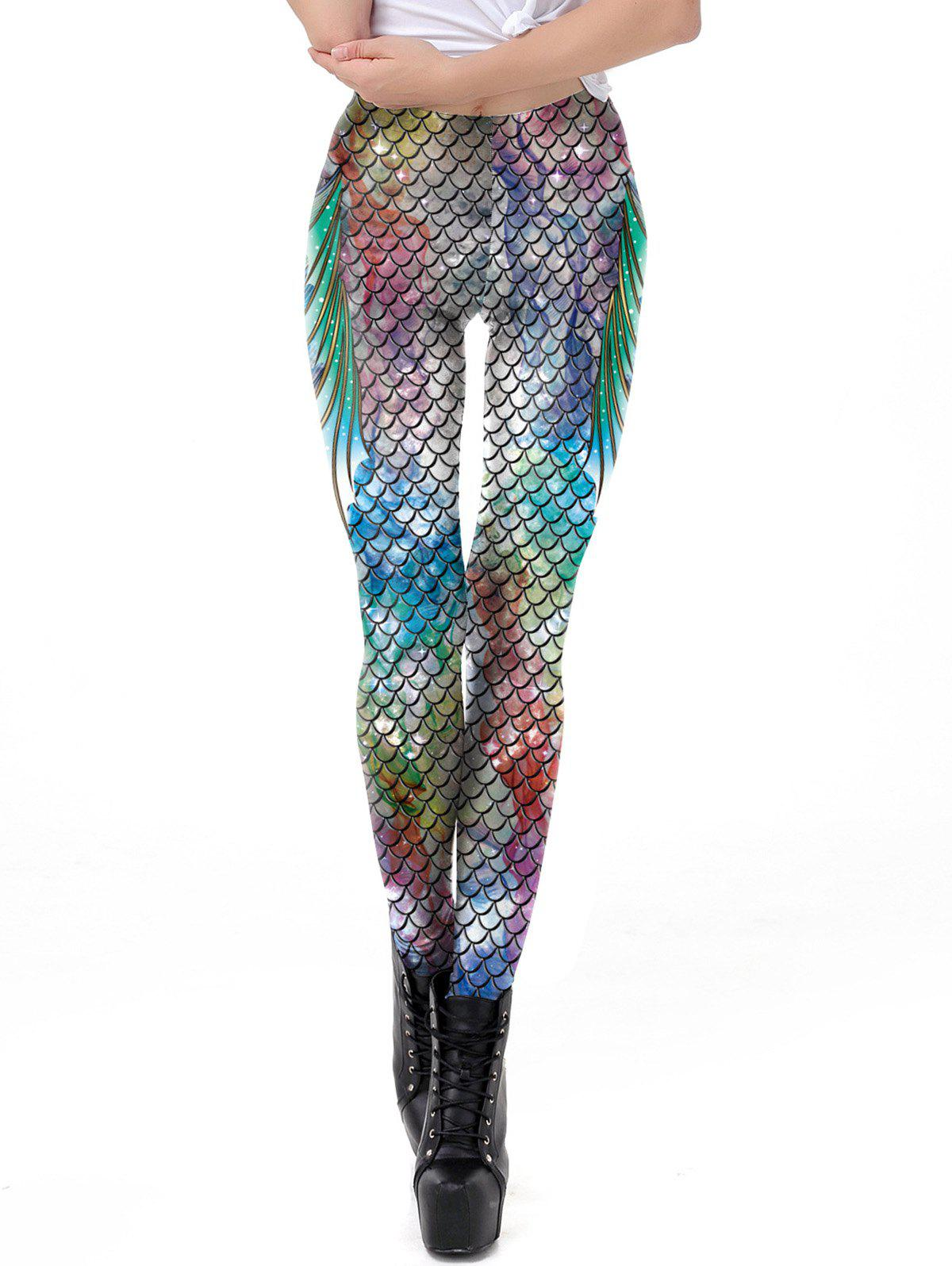 New Women New Mermaid Fish Scale Printed Leggings Stretch Tight Pants