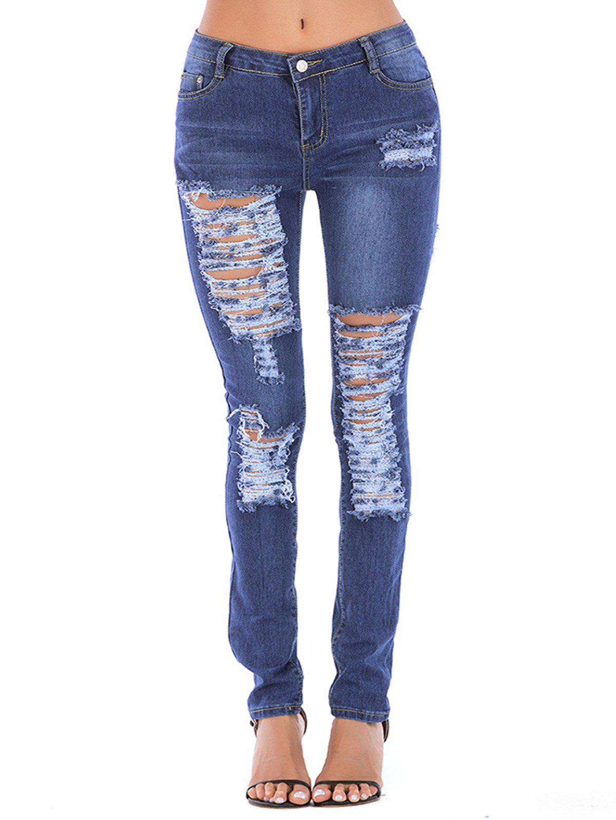 Chic Women Juniors Distressed Slim Fit Stretchy Skinny Jeans