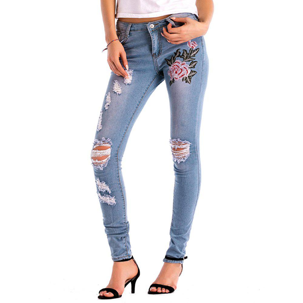 Store Womens Denim Rose Embroidered Destroyed Frayed Hem Skinny Jeans Hole Jeans