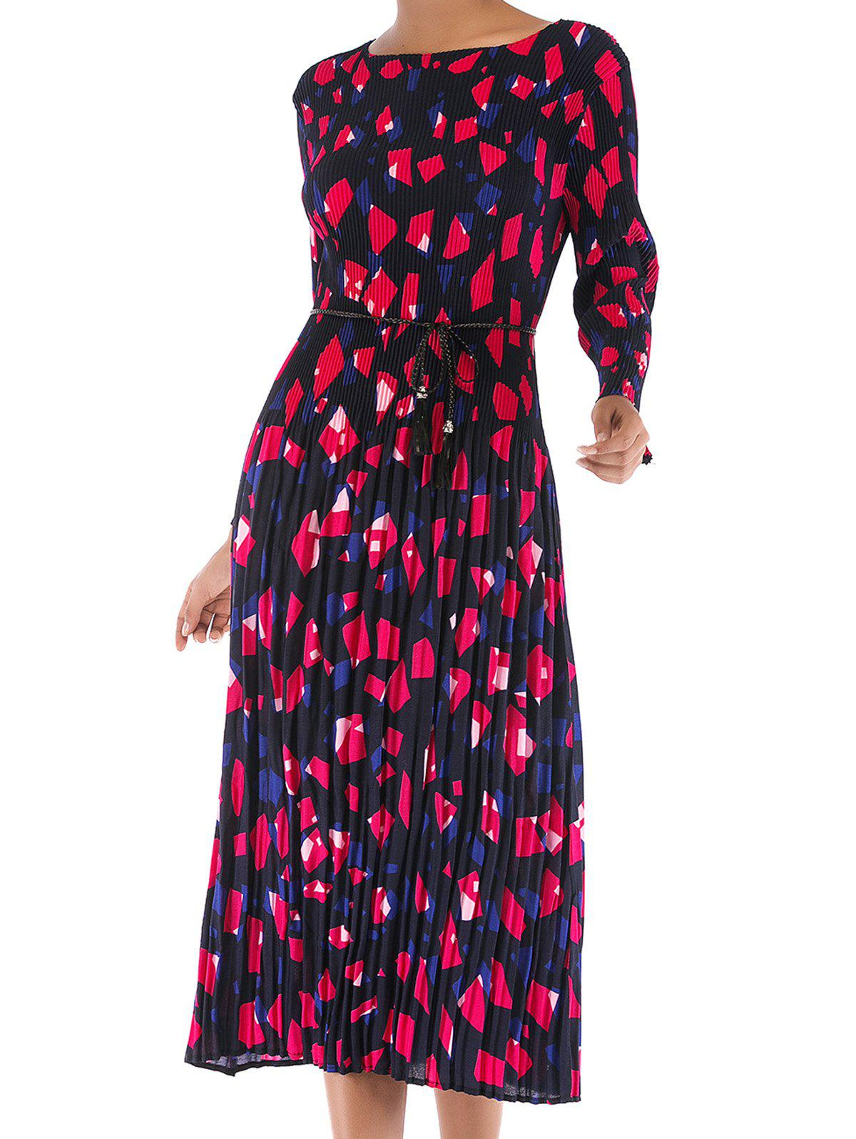 Fancy Womens Casual Floral Round Neck Long Sleeve Tunic Pleated  Dress