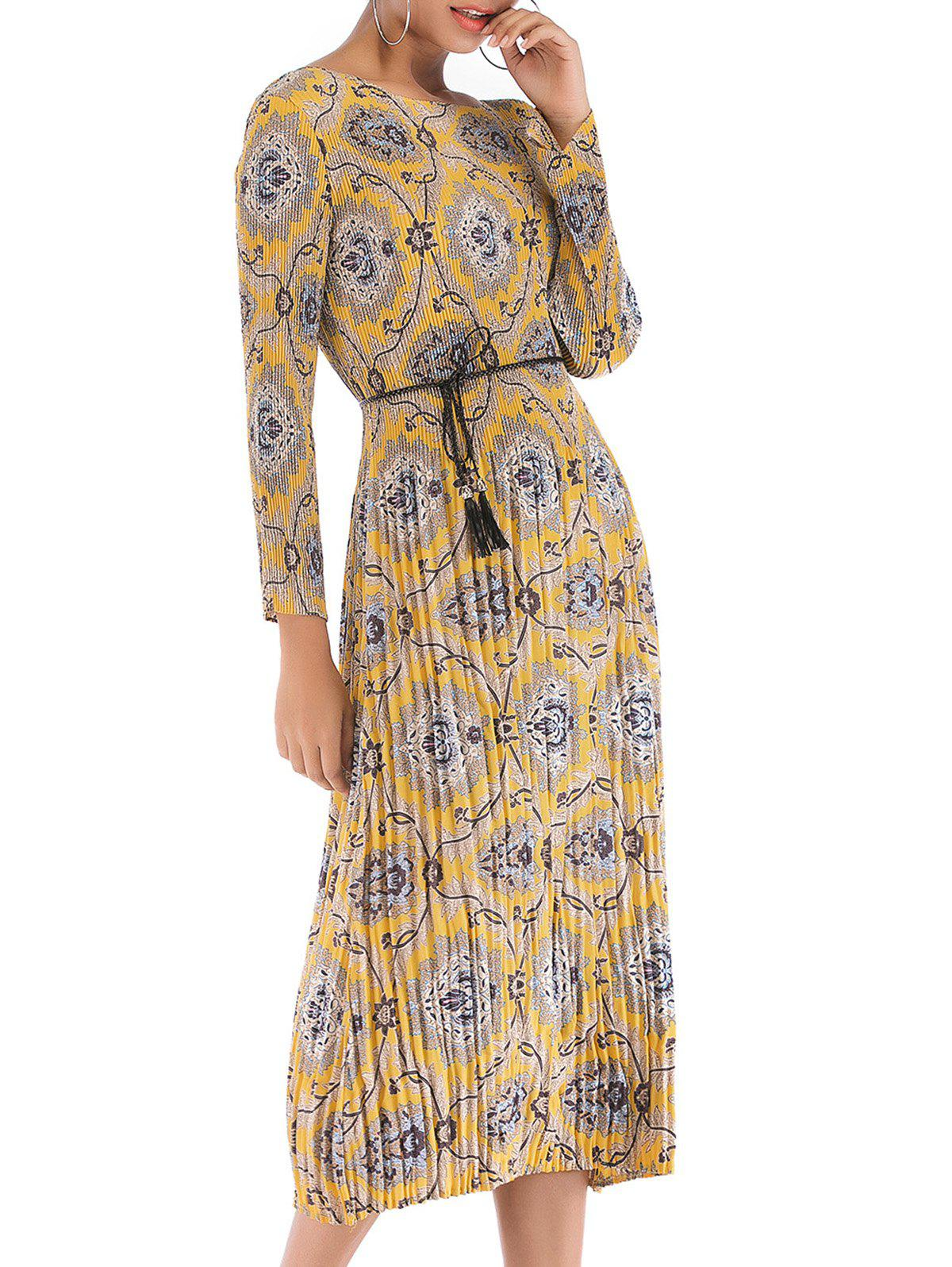 Unique Womens Long Sleeve Floral  Casual Swing Pleated T-Shirt Dress