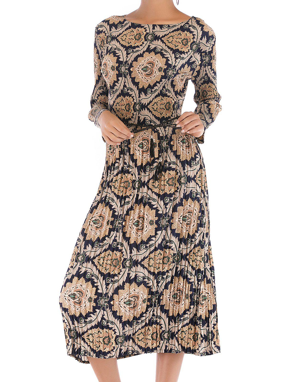 Outfits Womens Long Sleeve Floral  Casual Swing Pleated T-Shirt Dress