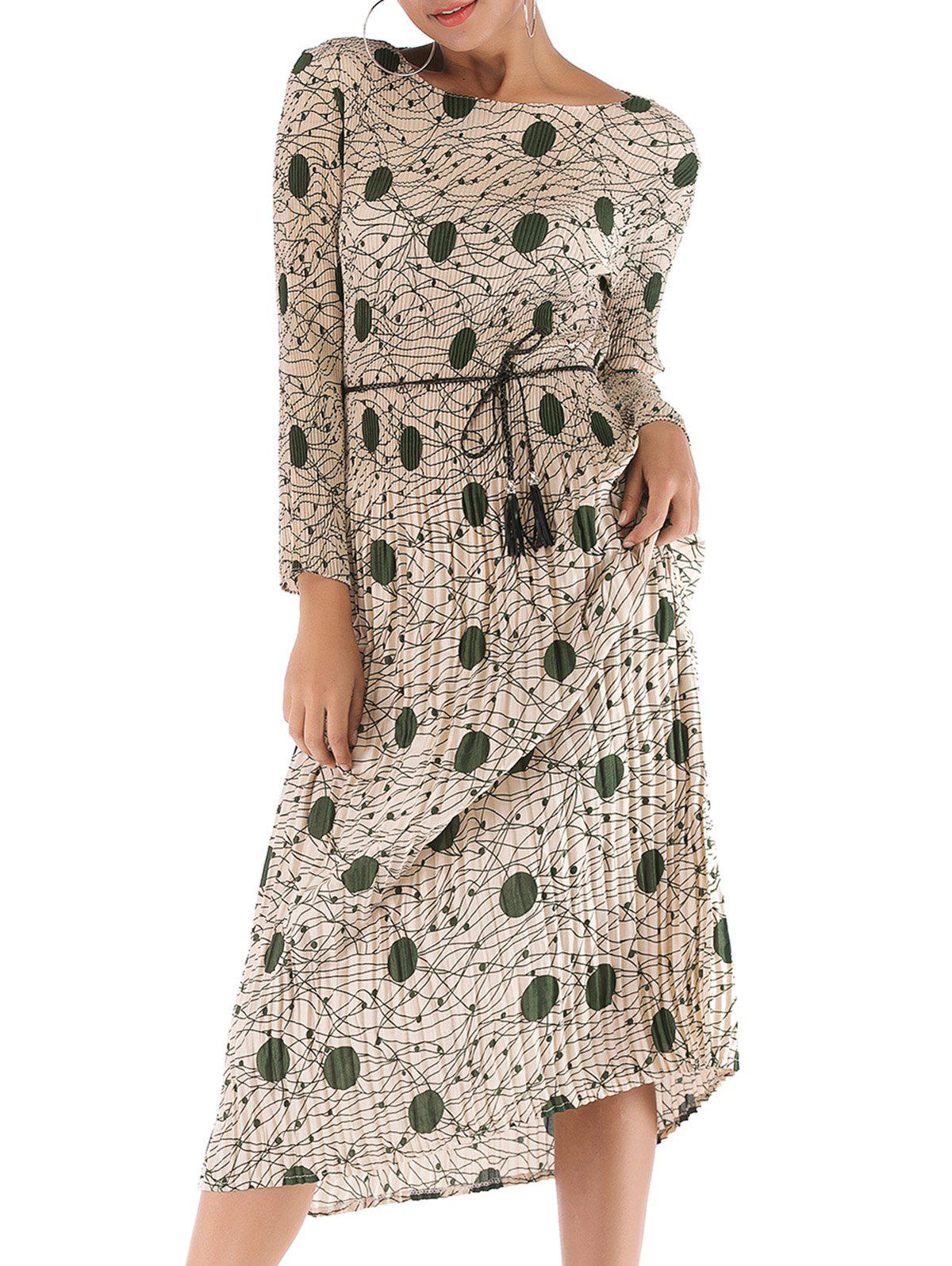 Affordable Womens Casual Floral Print Long Sleeve Waist Pleated Midi Dress