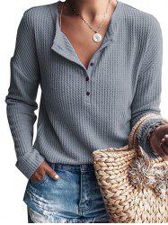 Womens Pure Color  Button Long Sleeve Jumper Casual Knitwear Tops -