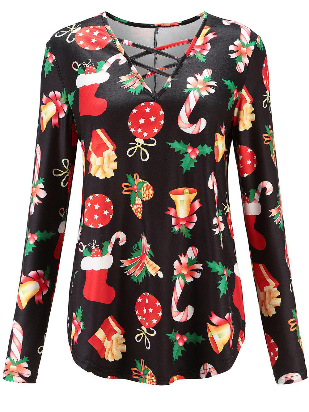 online womens long sleeve blouse christmas printed tunic t shirt tops