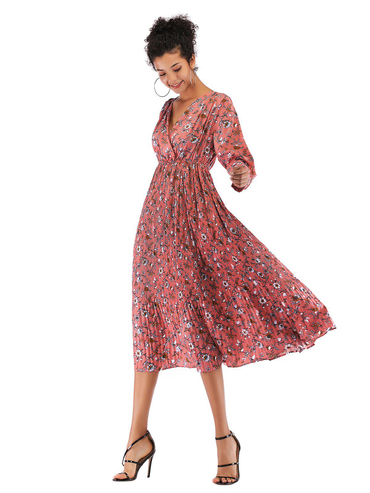 Store Lady V Collar Long Sleeve Floral Dress