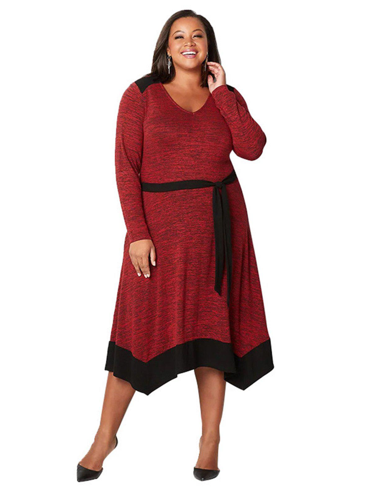 Sale Plus Size Irregular Contrast Color Splice Casual Dress