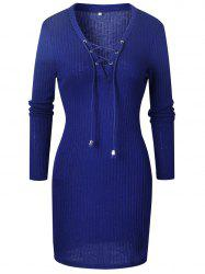 Women Fashion  Sweater Dress V-neck Long Sleeve  Pencil Dress -