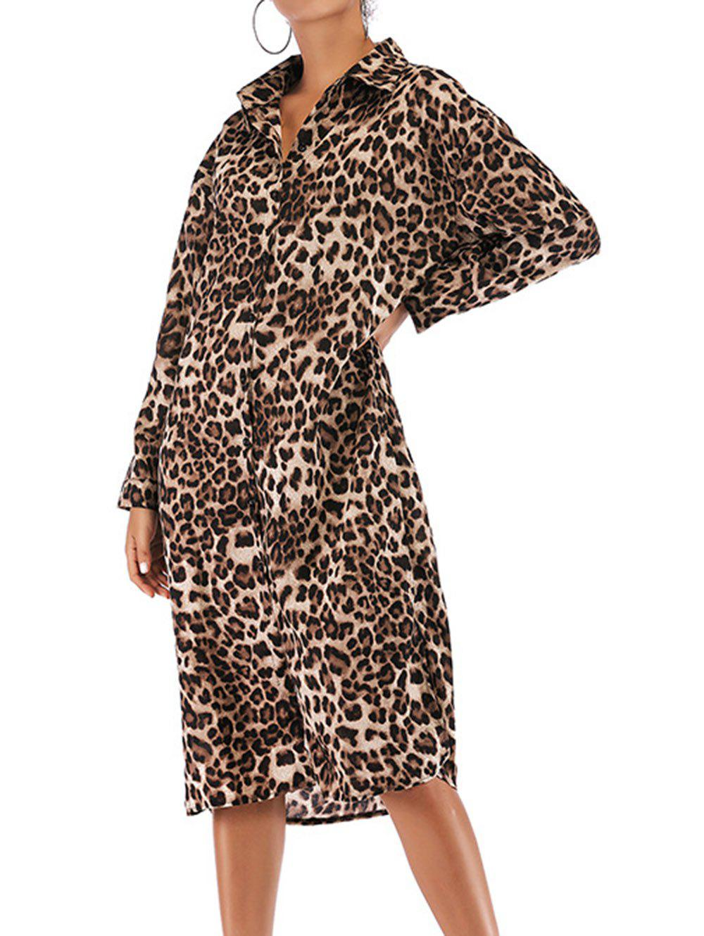 Shop Women Leopard Print Dresses Long Sleeve Knee Length Animal Print Tunic Mini Dress with Belt