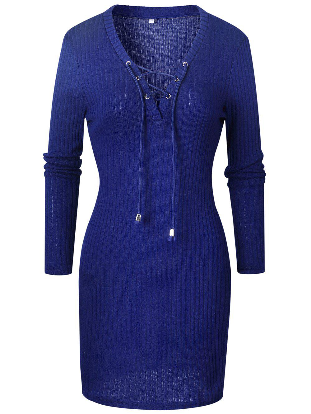 Discount Women Fashion  Sweater Dress V-neck Long Sleeve  Pencil Dress