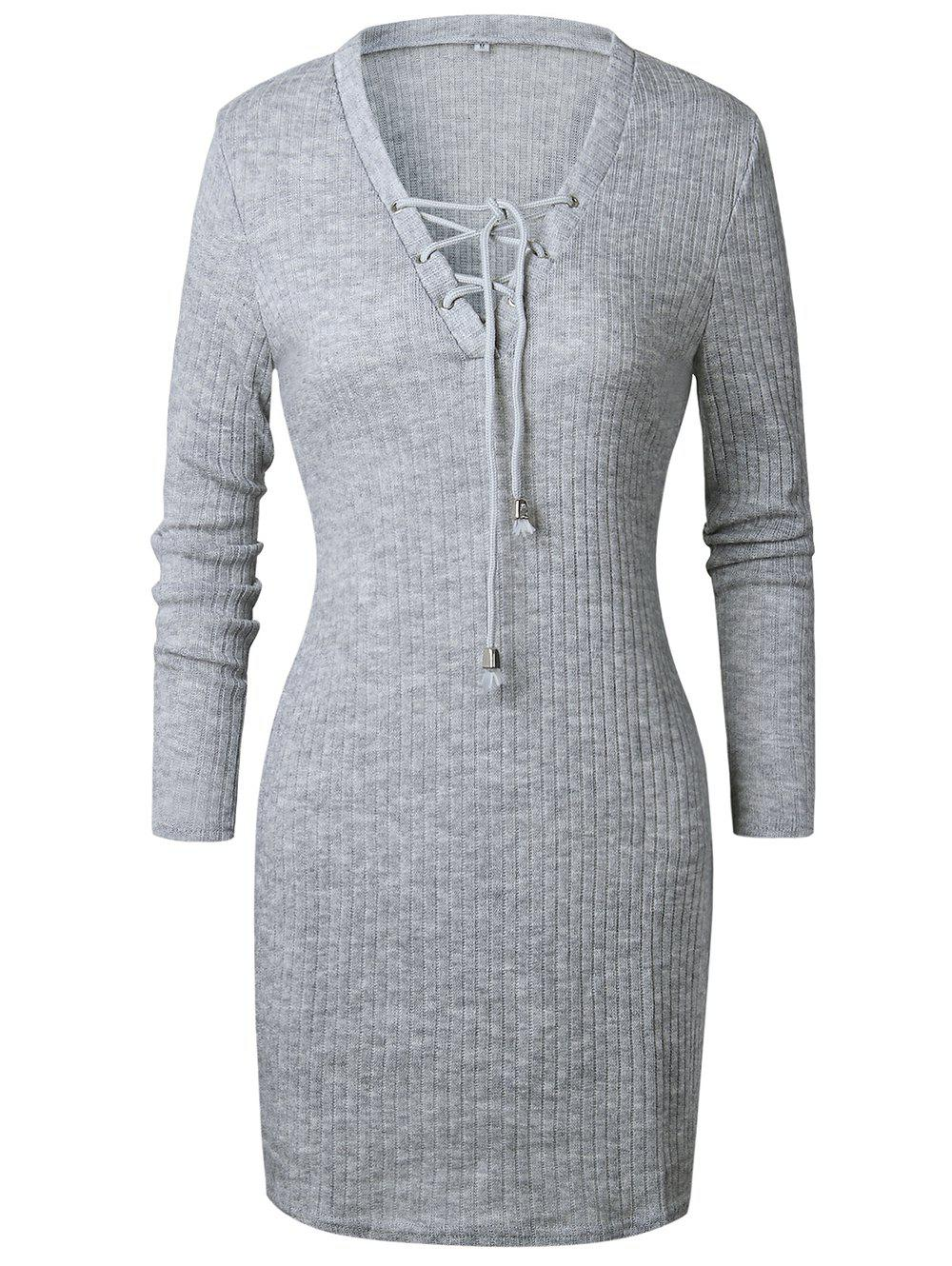 Outfits Women Fashion  Sweater Dress V-neck Long Sleeve  Pencil Dress