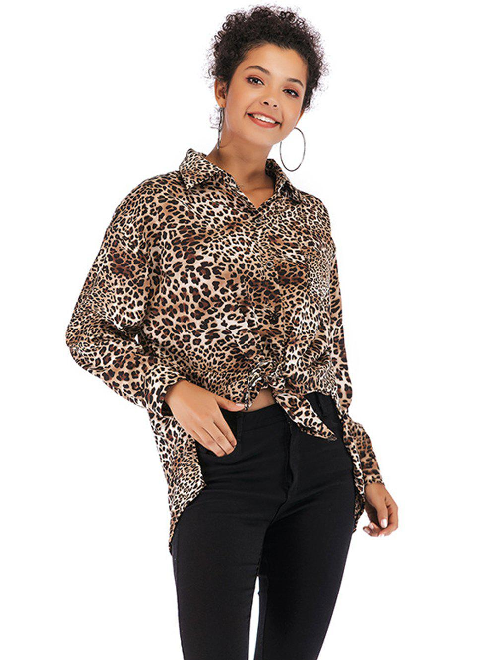 4ffce7031d70 Womens V Neck Long Sleeve Leopard Print Shirt Loose Casual Button Blouse - L