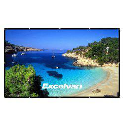 Excelvan 100 Inch 16:9 Collapsible White Portable Projector Cloth Screen With Hanging Hole For Home And Outdoor Use -