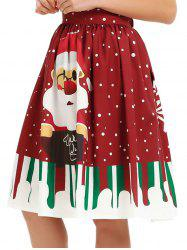 Women Christmas Floral Print Pleated Vintage Skirts -