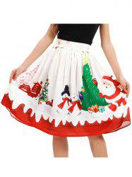 Women A-Line Pleated Vintage Christmas Skirts -