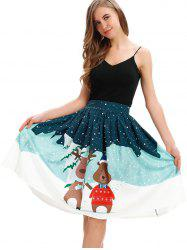 Womens Ugly Christmas Printed Stretchy Flared Mini Skater Skirt -