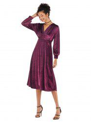 Lady V Collar Long Sleeve Velvet Dress -