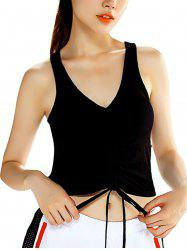 Front Middle Drawstring Quick-Drying Elastic Sports Vest -