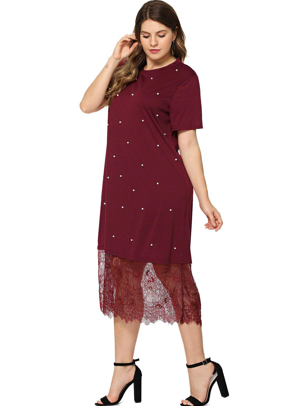 56 Off 2018 Plus Size Beaded Lace Splice T Shirt Dress In Red