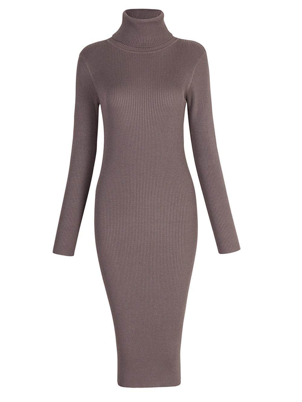 Latest Elastic Turtleneck Long Sleeve Bodycon Slim Midi Knitted Dress