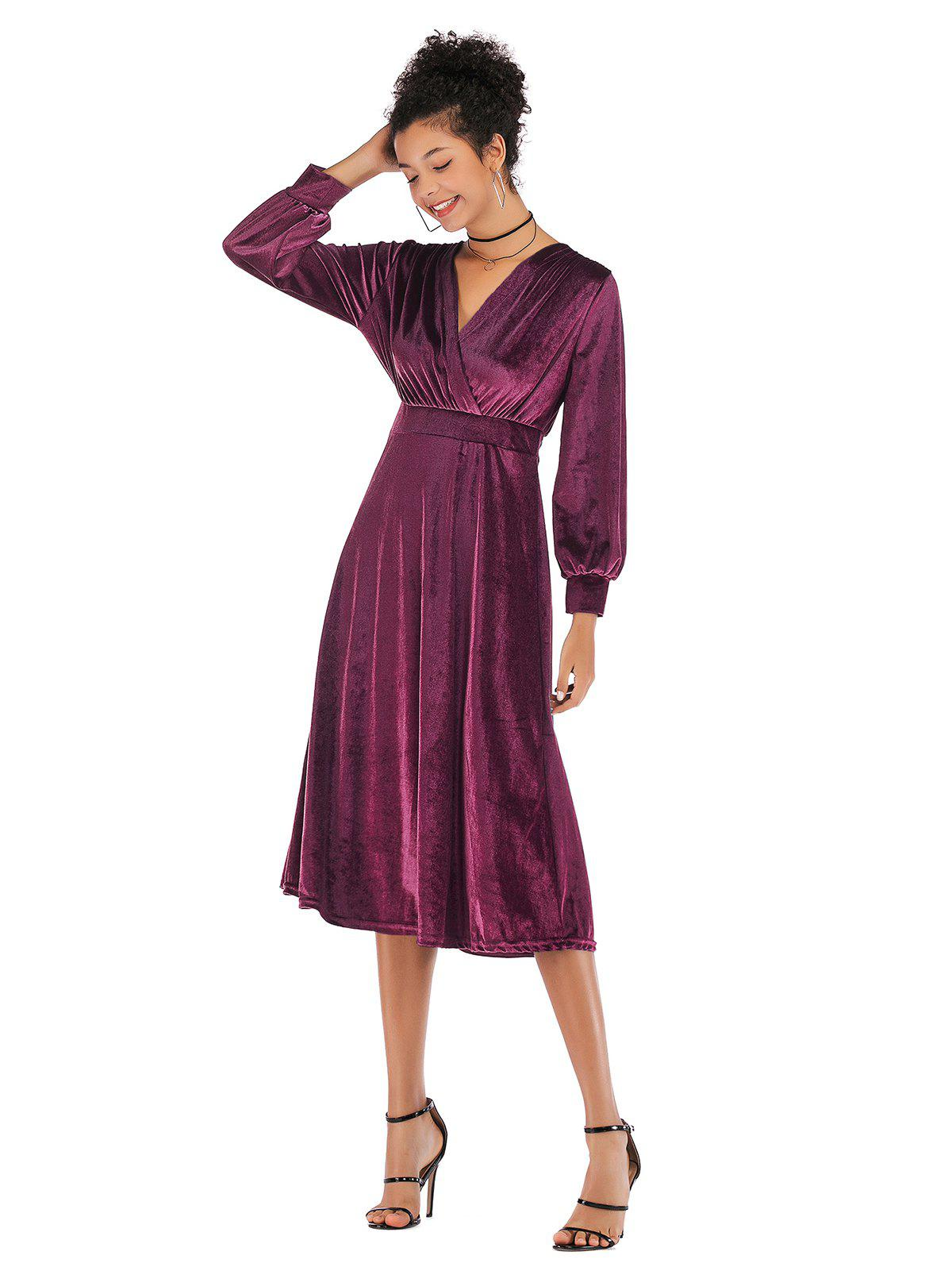 Chic Lady V Collar Long Sleeve Velvet Dress